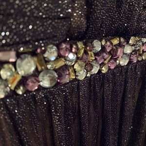 City Studio Dresses - Deep Plum Strapless Sparkly Evening Gown